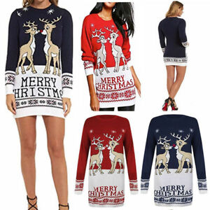 Womens Merry Christmas Jumper Ladies Baby Deer Print Knitted Party Dress New S-L