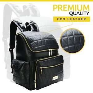 Bag Diaper Backpack by Mayi RoyBlack Eco Leather for Mom and Dad