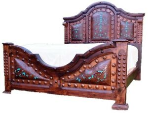 Antique Queen Bed Iron Solid Wood Turquoise Tooled Leather Headboard Footboard