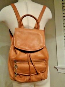 FOSSIL backpack 100% genuine leather light camel brown with key zipper pockets