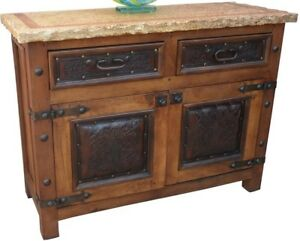 Mexican Sideboard Buffet Tooled Leather Marble Solid Wood Antique Drawer Cabinet