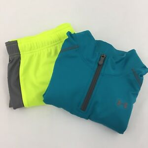 LOT 2 Under Armour long sleeve Shirt Shorts Boy XL Youth Neon Yellow Blue Active