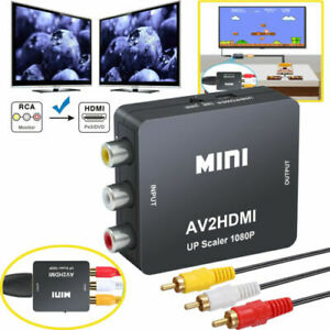 Mini RCA Composite CVBS AV to HDMI Video Audio Converter Adapter with USB Charge