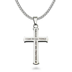 Philippians 4:13 Bible Verse Personalize Stainless Steel Cross Necklace