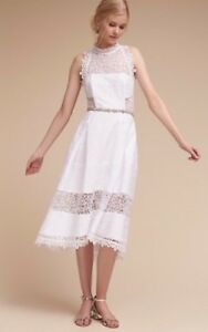 NEW $695 BHLDN Nicholas Marita Dress Size 12 White Lace Wedding Bridal Honeymoon