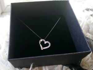 White Gold And Diamond Heart Necklace Pendant New In Box