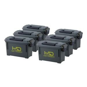 Plastic Ammo Boxes (6-Pack) Lightweight High Lockable Water Corrosion Resistant