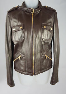 Womens Michael Kors Runway Brown Leather Moto Biker Jacket Coat Size 6