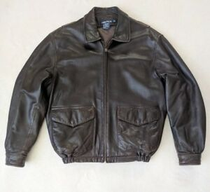 NAUTICA Soft Leather Jacket Brown Zip-out Liner Men's Large Bomber Tony Soprano