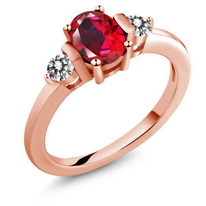 925 Rose Gold Plated Silver Diamond Ring Set with Red Topaz from Swarovski