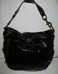 Coach Zoe Black Patent Leather Large Shoulder Handbag Purse EUC