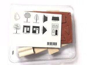 Stampin Up Two Step Good Neighbors Wood Stamp Set Of 10 House Trees Moving