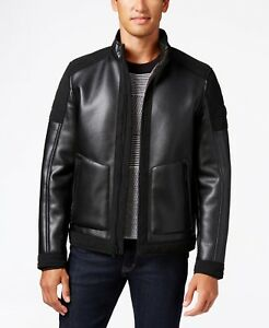 MICHAEL Michael Kors Men's Faux-Leather Faux-Shearling Lined Moto Jacket S M
