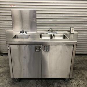 Portable Sink System Stainless Steel NSF Hot Water Hand Wash Food Prep 9200 Cart