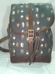 Fossil Blue Leaf Pattern Backpack Shoulder Bag Purse os