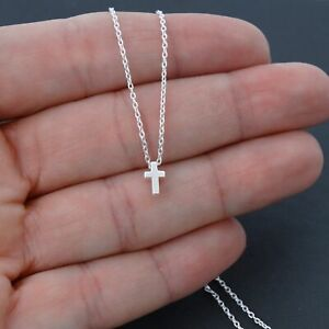 Tiny Cross Necklace 925 Sterling Silver Cross Necklace Faith Religion NEW