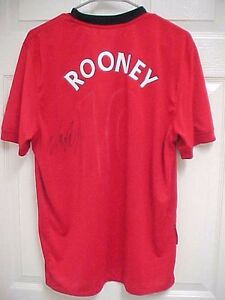 WAYNE ROONEY 10 United Manchester Signed Home Red Shirt Jersey M Nike Fit Dry