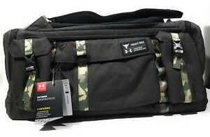 Under Armour Project Rock USDNA Range Duffle Bag Backpack Black Camo