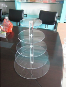 5 Tier Clear Acrylic Round Cupcake Stand Tower Wedding Party Cake Display Stand