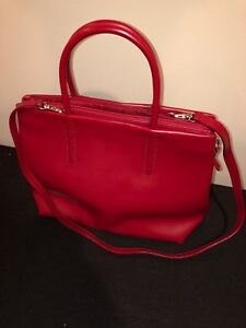 Coccinelle Red Soft Leather Tote Handbag Authentic with Detachable Strap