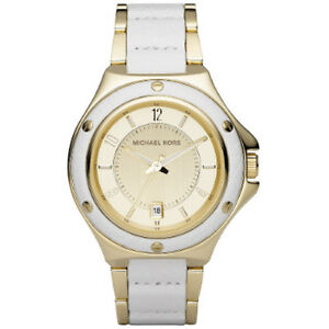Michael Kors Rocktop White Leather Gold Stainless Bracelet MK5332 Watch NIB
