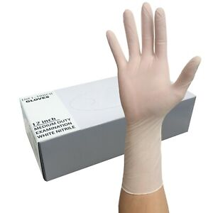 Nitrile Heavy Duty Gloves 12 Length 5mil White 50 Pk FAST SHIP