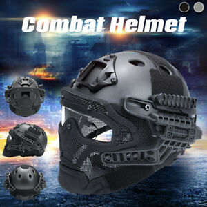 Tactical Airsoft Paintball Fast Helmet Protective w Mask Goggles