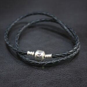 PANDORA Black Braided Double Leather Charm Bracelet Sterling Silver 590705CBK-D1