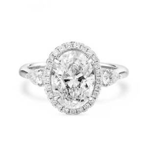 3.53 Ct Real Oval Cut Sparkling FVVS1 Diamond Ring Natural 18K White Gold GIA