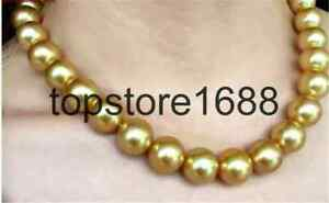 huge13-14mm south sea round natural gold pearl necklace 18inch 18K