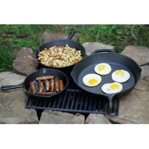 Cast Iron Skillet Set 3Pc Pre Seasoned Outdoor Cooking Skillets Camping Cookware