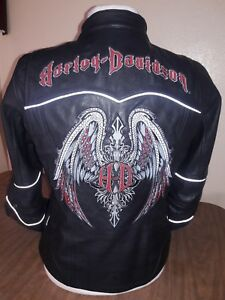 Harley Davidson Women's Road Angel reflective Leather Jacket & hoodie size Small