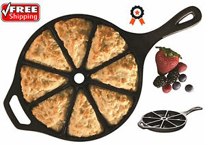Cast Iron Skillet Cornbread Wedge Cookware Pan Muffin Scone Bake Cooking Lodge