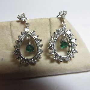 WONDERFUL 18K WHITE GOLD DANGLE NATURAL DIAMOND AND EMERALD EARRINGS