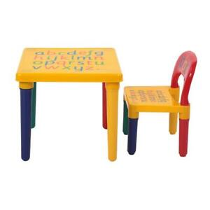 Desk Chair Kids Table Set Play Study Children Activity Furniture Toddler Yellow