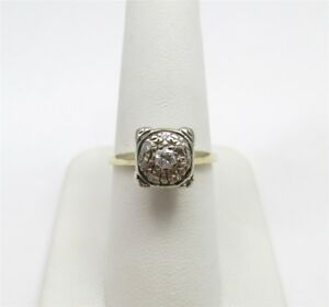 14K Yellow Gold ~17CTW Diamond Round Illusion Set Square Cluster Ring Size 6.25
