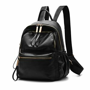 Wraifa Backpack Bag Leather Small for Women black Waterproof Leather
