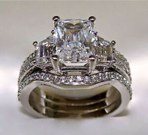 10Ct Radiant Cut Diamond 10K White Gold Over Engagement Ring & Matching Band Set