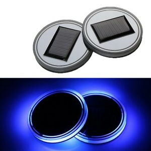 2x Colorful Solar LED Car Cup Coaster Bottle Holder Pad Mat Atmosphere Light US