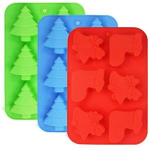 3 Pack Silicone Molds Shapes Of Christmas Trees Socks And Bells FineGood For