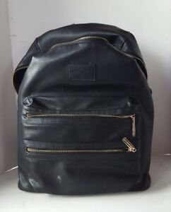 THE HONEST COMPANY DIAPER BACKPACK BAG BLACK FAUX LEATHER