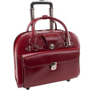McKlein USA Edgebrook Wheeled Ladies Laptop Case Red 17