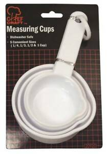 NEW CHEF CRAFT 20920 4 PIECE WHITE PLASTIC MEASURING CUP SET SALE 9874918 $2.29