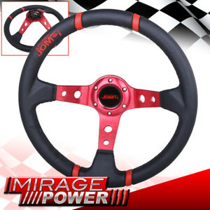 350mm Drifting Deep Dish 6 Bolts Steering Wheel Red Stitching Spoke For Chevy
