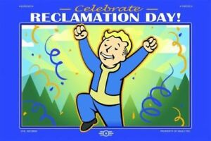 Fallout 76 Celebrate Reclamation Day! Limited Gold Foil Lithograph 76! In Hand!