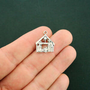 8 Nativity Charms Antique Silver Tone Beautiful Detail XC054 $6.50
