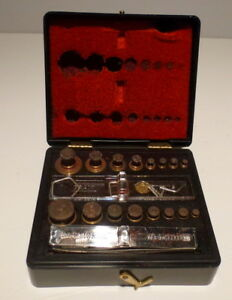 Vintage Ohaus Pharmacy Weights Set in Original Box 5601-2oz weight 31pc Antique