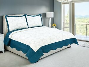 Embroidered 3 Pieces Reversible Bedding Quilt Set Turquoise Color Queen Size