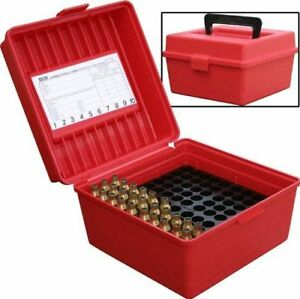 NEW MTM 100 Round Deluxe Handled Magnum Flip Top Rifle Ammo Case Red