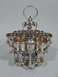 Export Egg Stand - Antique Cups & Spoons - Chinese Silver - KHC Khecheong C 1840